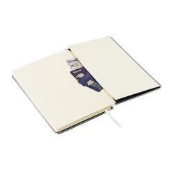 Bloco de notas, capa rígida com rebordo em metal e bolsa interior
