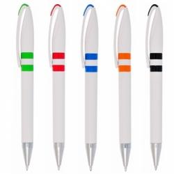 Esferográfica de plástico com duas linhas coloridas