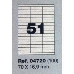 Etiquetas MULTI3, 70x16,9mm (100 folhas)