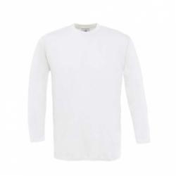 T-shirt B&C Exact 150 de manga comprida - Branca