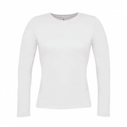 T-shirt B&C Women-Only de manga comprida - Branca