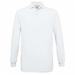 Polo B&C Safran de manga comprida 180g - Branca