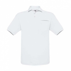 Polo B&C Safran Pocket 180g - Branca