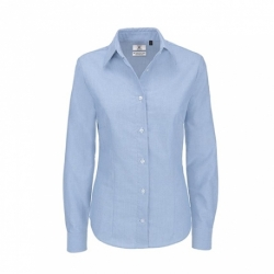 Camisa B&C Oxford Women de manga comprida